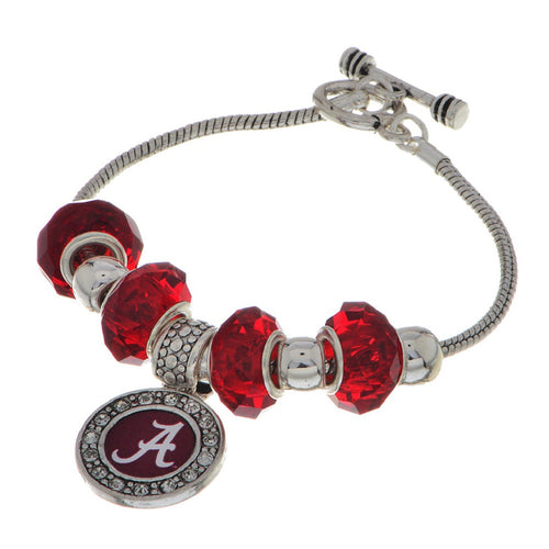 Alabama Logo Charm Bracelet with Red and Silver Tone Slider Beads - SE Collegiate Gifts