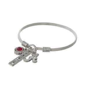 NCAA Triple Charm Name Drop Wire Bracelet - SE Collegiate Gifts