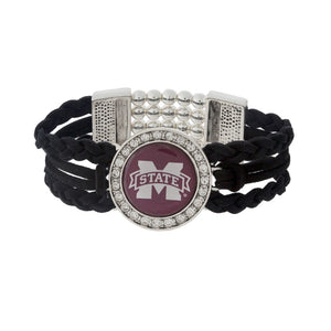 Fashion Logo Braided Suede Stretch Bracelet - SE Collegiate Gifts