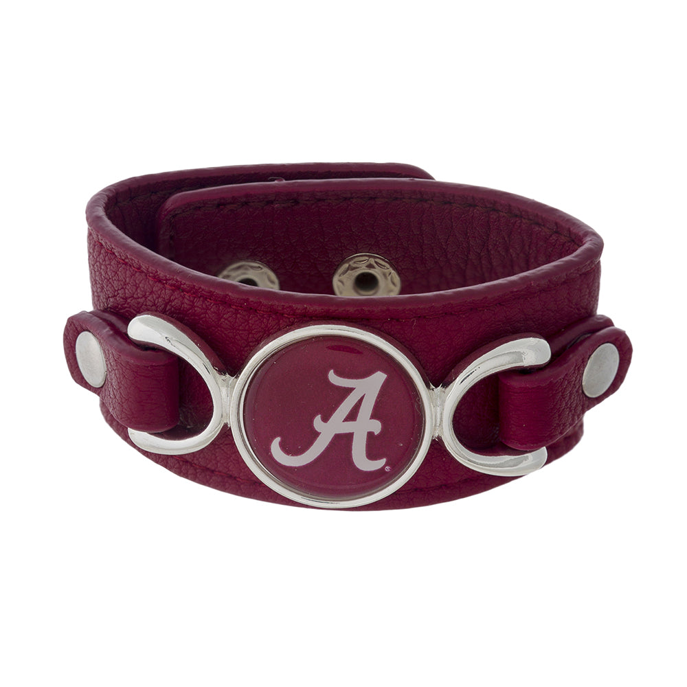 Alabama Crimson Leather Strap Bracelet - SE Collegiate Gifts