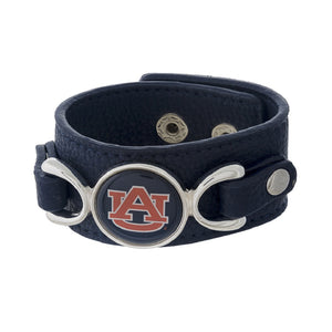 Auburn University Logo Team Blue Leather Strap Bracelet - SE Collegiate Gifts