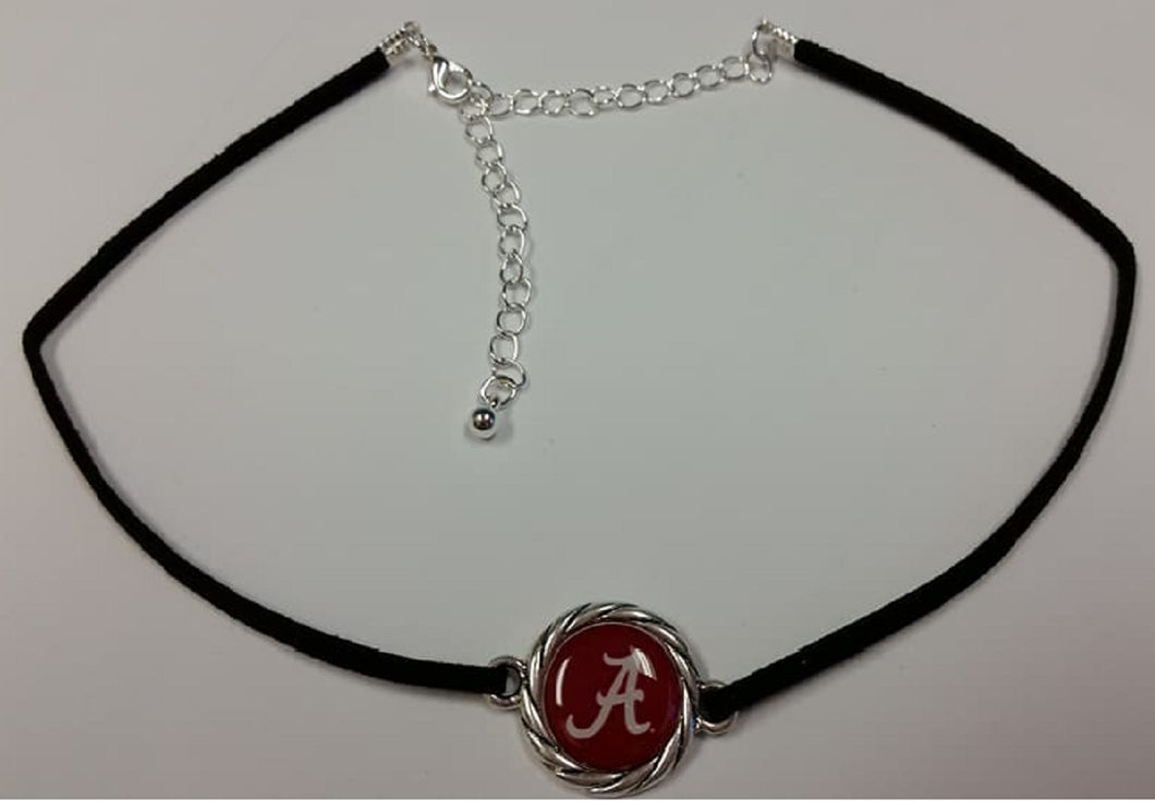NCAA Necklace - Black Suede Choker - SE Collegiate Gifts