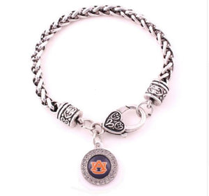 Auburn Tigers Link Bracelet Round Logo Charm - SE Collegiate Gifts