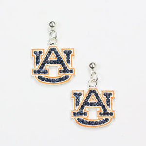 Auburn Crystal Logo Earrings - SE Collegiate Gifts