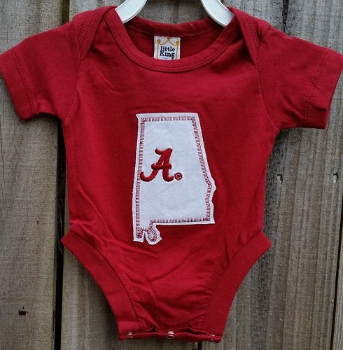 Alabama Onsie, State of Alabama, Crimson Tide, Roll Tide - SE Collegiate Gifts