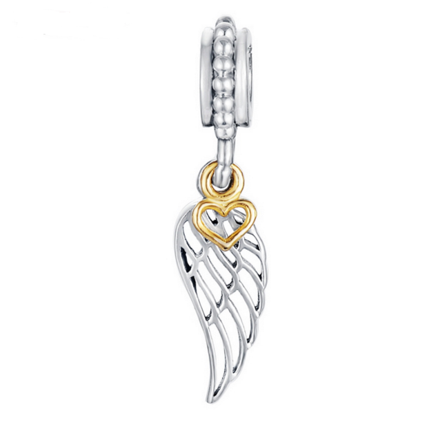 Angel Wings Charm w/Gold Heart Drop - SE Collegiate Gifts