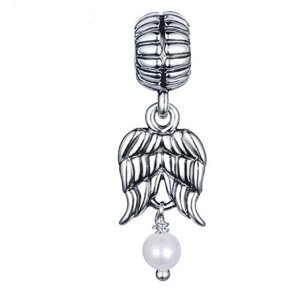 Wings Charm with Pearl Drop