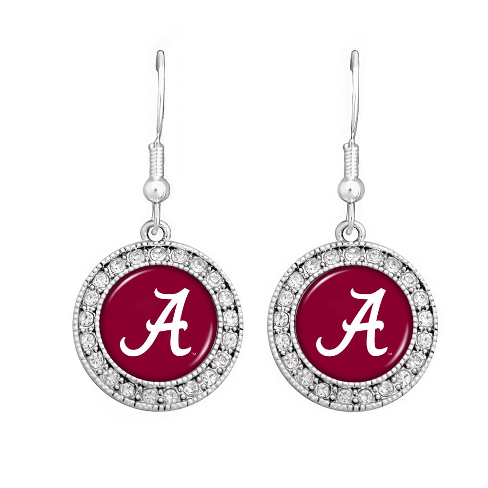 NCAA SEC Team Logo Big Round Rhinestone Earrings for Alabama, Kentucky, Texas - SE Collegiate Gifts