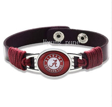 Load image into Gallery viewer, Alabama Crimson Tide Leather Bracelet, Cuff Jewelry, with Snap Closure - SE Collegiate Gifts
