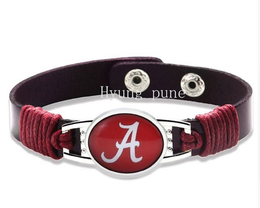 Alabama Crimson Tide Leather Bracelet, Cuff Jewelry, with Snap Closure - SE Collegiate Gifts