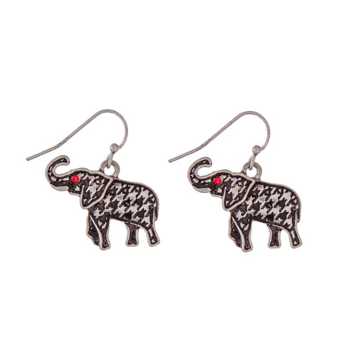 Houndstooth Elephant Earrings - SE Collegiate Gifts