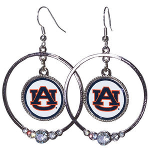 Auburn Floating Logo Charm Hoop Earrings - SE Collegiate Gifts