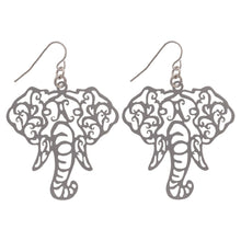 Load image into Gallery viewer, Its Sense Elephant Head Filigree Fish Hook Earrings, Gold or Silver - SE Collegiate Gifts