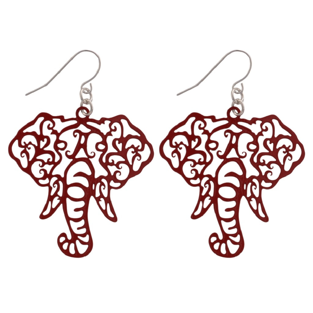 Alabama Filigree Elephant Head Fishhook Earrings, Choice of Crimson, Gold or Silver - SE Collegiate Gifts