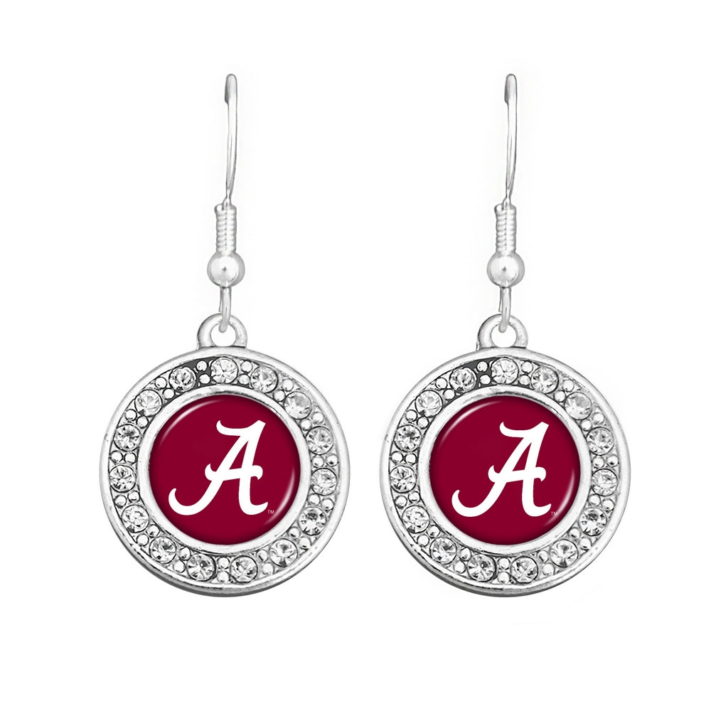 Alabama Logo Round Rhinestone Earrings - SE Collegiate Gifts