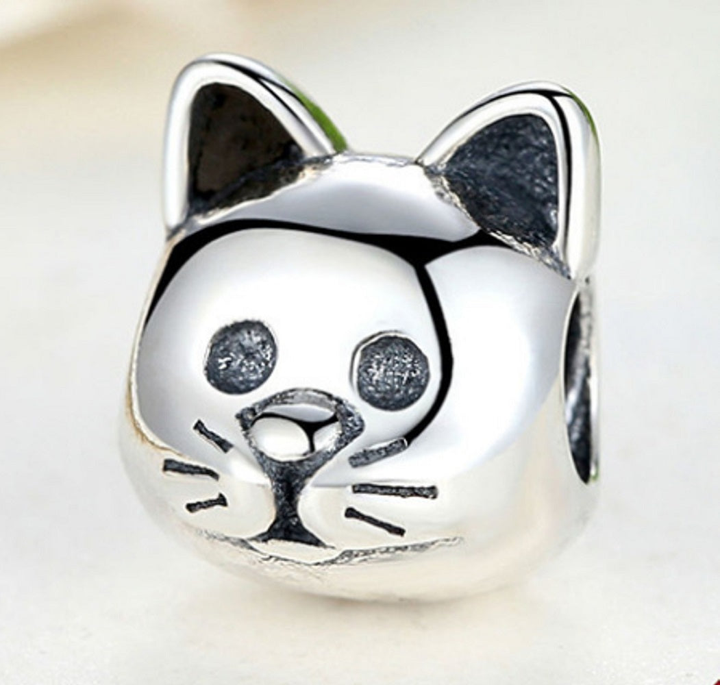 Sterling Silver Cat Bead