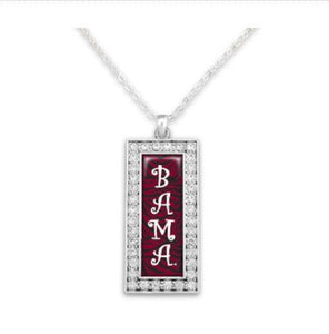 "Alabama Crimson Tide ""BAMA"" Banner Necklace - SE Collegiate Gifts"