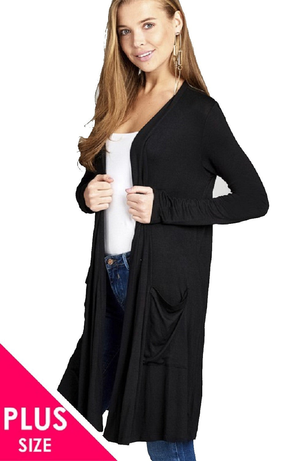 Open Front Long Length Long Sleeve Duster Cardigan with Pockets - SE Collegiate Gifts