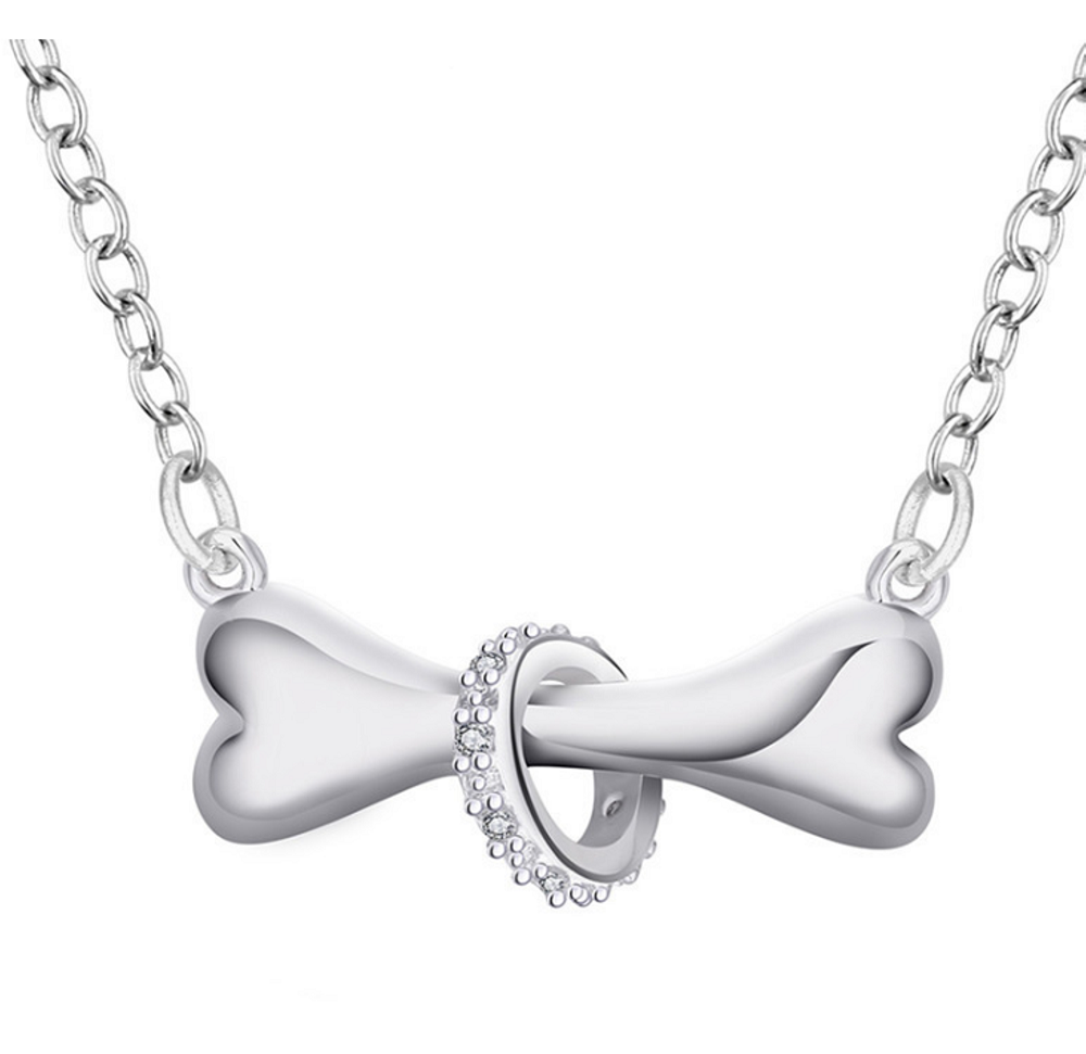 Dog Bone Encircled with Cubic Zirconia Ring Pendant Necklace - SE Collegiate Gifts