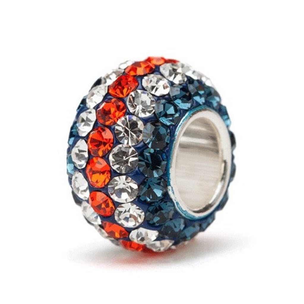 Navy Blue, Orange, and White (Clear) Stripe Crystal Charm Bead - SE Collegiate Gifts