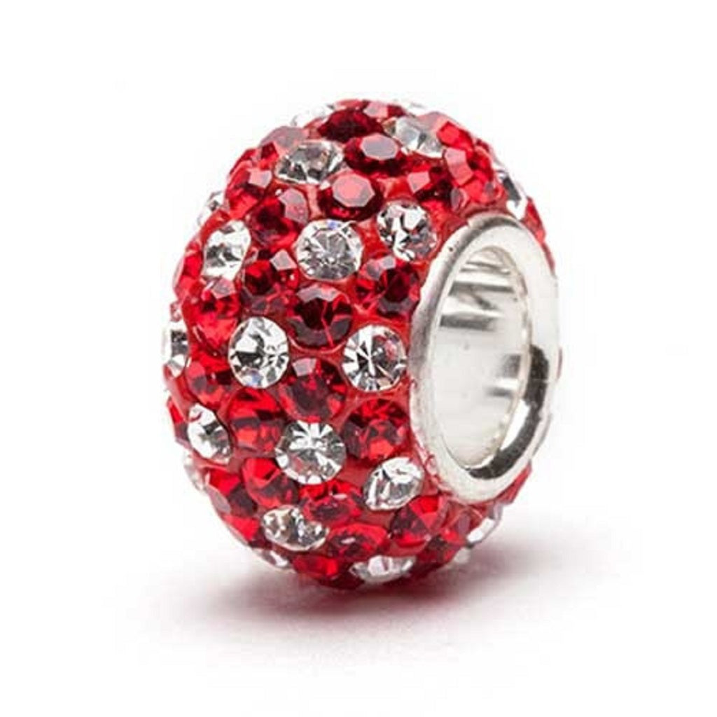 Red and White (Clear) Spotted Crystal Bead - SE Collegiate Gifts