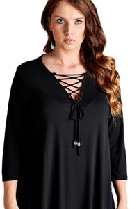 V-Neck Black Plus Size Top with Corset Detail