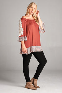 Plus Sizes 1X, 2X, or 3X Stripe Ruffled Tunic Dress - SE Collegiate Gifts