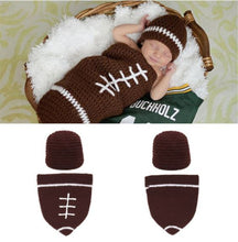 Load image into Gallery viewer, Crocheted Football Baby Sack with Hat - SE Collegiate Gifts
