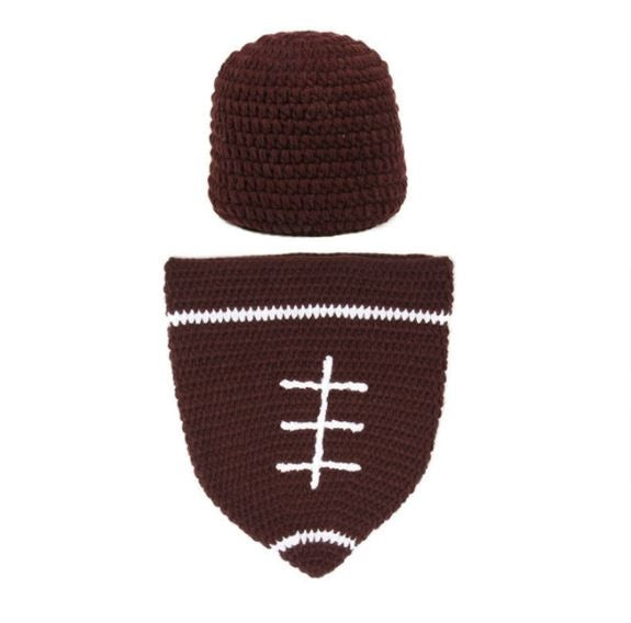 Crocheted Football Baby Sack with Hat - SE Collegiate Gifts