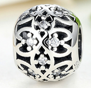 Intricate Lattice Bead accented by Clear Cubic Zirconia - SE Collegiate Gifts