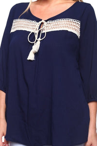 Navy Blue Crochet-and-tassel trim top, plus sizes top 1X, 2X, 3X - SE Collegiate Gifts