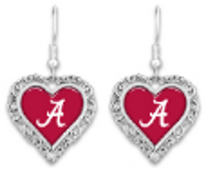 Alabama Lace Trimmed Heart Logo Earrings - SE Collegiate Gifts