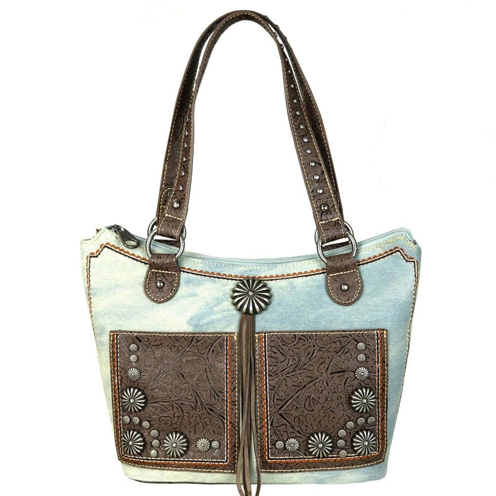 MW587G-8304 Montana West Concho Denim Collection Tote Bag - SE Collegiate Gifts