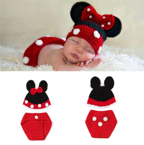 Crocheted Baby Girl Cartoon Mouse Outfit - SE Collegiate Gifts