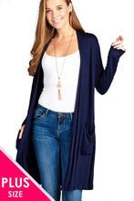 Load image into Gallery viewer, Open Front Long Length Long Sleeve Duster Cardigan with Pockets - SE Collegiate Gifts