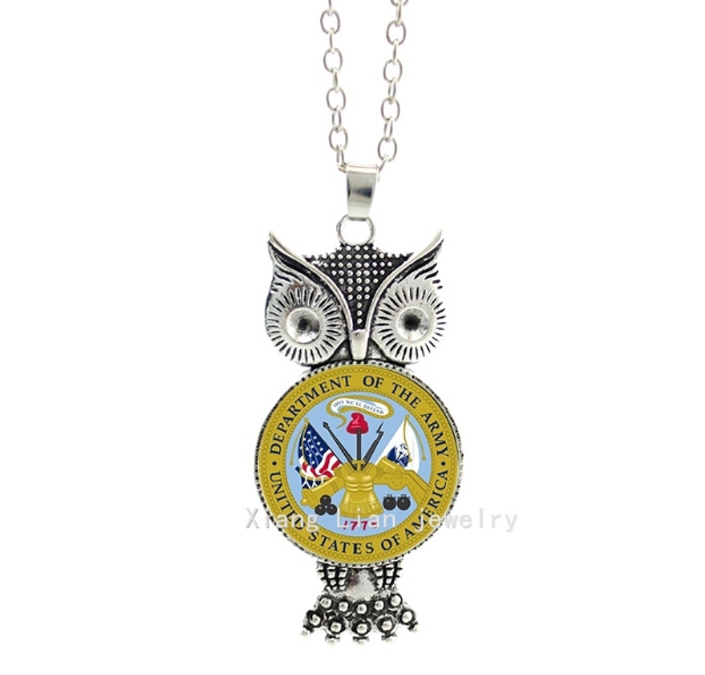Army Owl Pendant Necklace - SE Collegiate Gifts