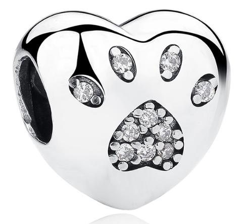 Heart Bead w/Paw Print - SE Collegiate Gifts