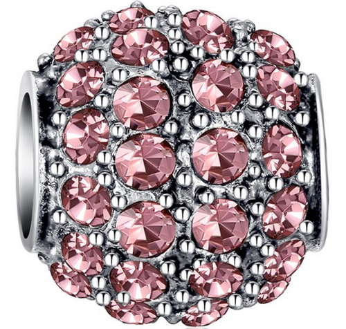 Pink Crystal Barrel Bead - SE Collegiate Gifts