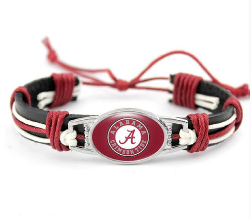 Alabama Black Leather Bracelet - SE Collegiate Gifts