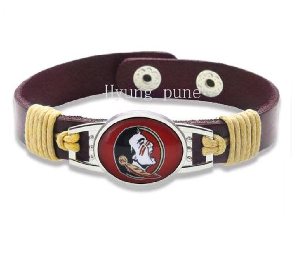 Florida State Seminoles Genuine Leather Bracelet with Snap Closure, Fashion Cuff - SE Collegiate Gifts
