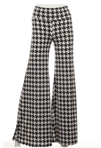 Ladies Black Houndstooth Wide Leg Pants - SE Collegiate Gifts
