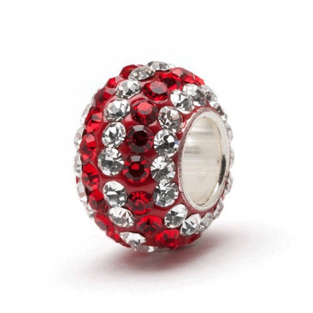 Red and White (Clear) Stripe Crystal Charm - SE Collegiate Gifts