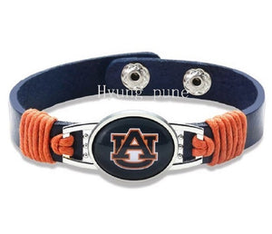 Auburn Tigers Genuine Leather Bracelet with Snap Closure, Fashion Cuff Jewelry - SE Collegiate Gifts