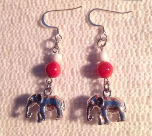 Handmade Beaded Earrings accented with Dangling Elephant Charms - SE Collegiate Gifts