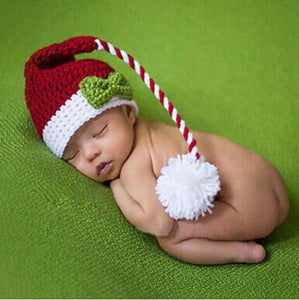 Christmas Photo Baby Prop, long tail beanie. 2 sizes, 0-4 months - SE Collegiate Gifts
