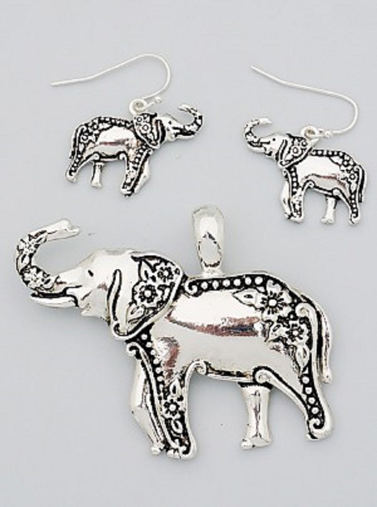 Lucky Elephant Engraved Pendant And Earrings - SE Collegiate Gifts