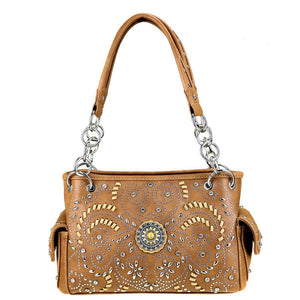 MW405G-8085 Montana West Concho Collection Concealed Handgun Satchel - Brown - SE Collegiate Gifts