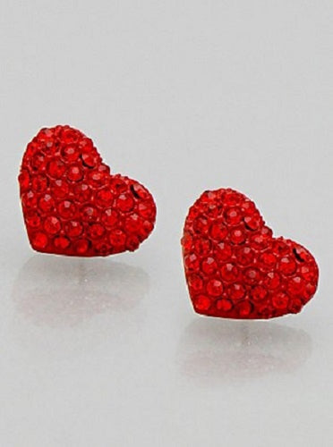 Sparkle Heart Shape Fashion Medium Stud Earrings Valentine Love Red