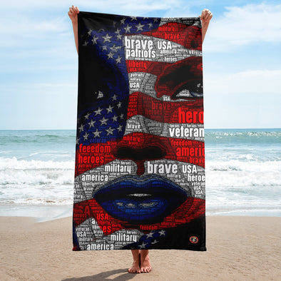 U.S. Flag Girl - Beach Towel