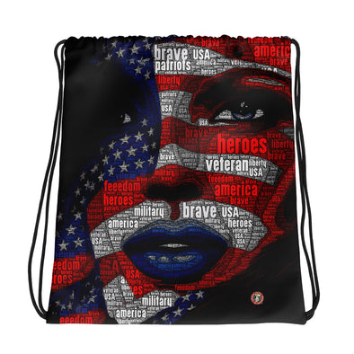 U.S. Flag Girl - Drawstring bag
